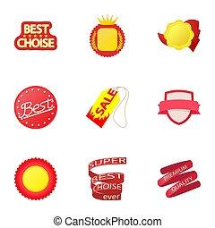 Tag icons set, cartoon style