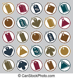 Tag icons set, retail theme simplistic symbols vector collection