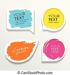 Tag label brush stroke colorful shapes collections