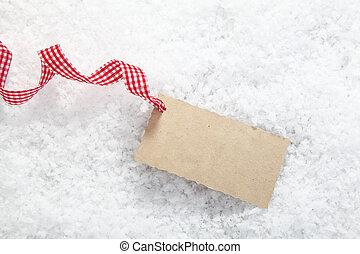 tag, neve, presente, em branco