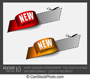 tag, ouro, vermelho, adesivo, novo