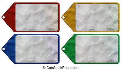tag plasticine on white background