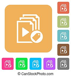 Tag playlist rounded square flat icons