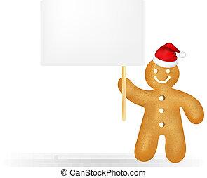 tag presente, santa, em branco, gingerbread, chapéu, homem