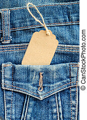 Tag price in pocket blue jean.