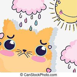 tag, reizend, karikatur, katz, kawaii, regnerisch