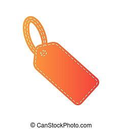 Tag sign illustration. Orange applique isolated.