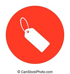 Tag sign illustration. White icon on red circle.