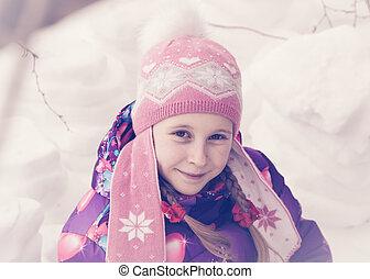 tag, spielende , glücklich, winter, snow., kind