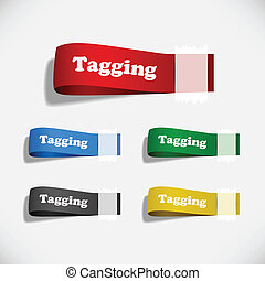 A set of colorful paper tags attached with sticky tape.