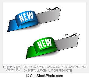 tag, transparente, shadows., adesivo, novo