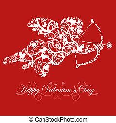 tag valentines, amor, mit, schleife, und, herz, pfeil, rotes