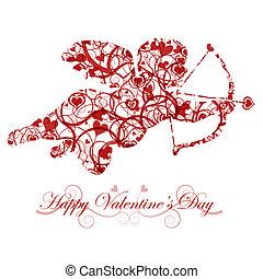 tag valentines, amor, mit, schleife, und, herz, pfeil