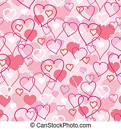 tag valentines, herzen, seamless, muster, hintergrund
