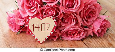 tag valentines, hintergrund, mit, rosafarbene rosen, aus, hölzern, tisch.