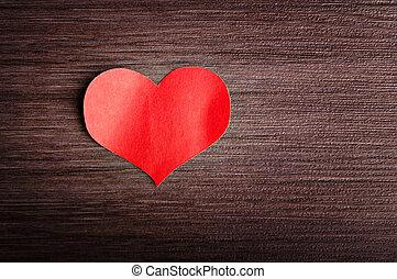 tag valentines, hintergrund., rotes herz, auf, a, hölzern, hintergrund