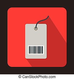 Tag with bar code icon, flat style