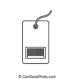 Tag with bar code icon, outline style