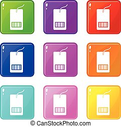 Tag with bar code icons 9 set