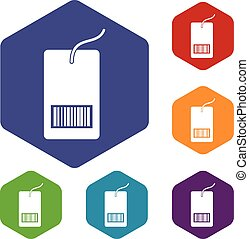 Tag with bar code icons set