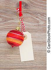 tag with christmas ball