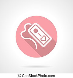 Tag with love pink round vector icon