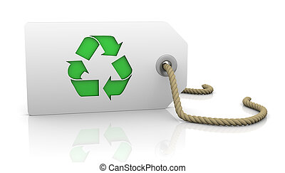 Tag with recycle symbol
