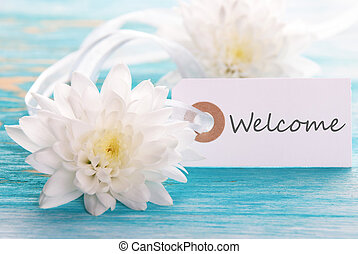 Tag with Welcome on a turquiose wooden Board with white...