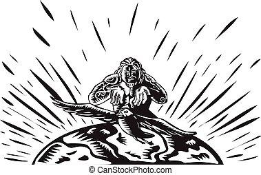 Tagaloa Releasing Bird Plover Earth Woodcut - Illustration ...