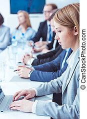 tagande, försiktig, noteringen, av, den, meeting's,...