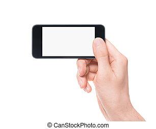 tagande fotografi, på, smartphone