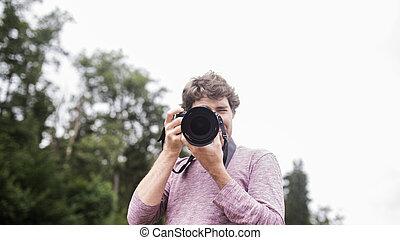 tagande, man, ung, dig, foto