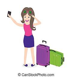 tagande, selfie, resa, flicka