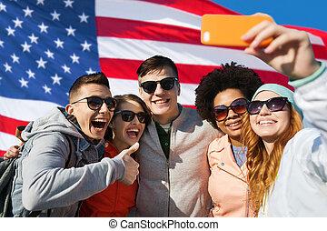 tagande, selfie, smartphone, vänner, le