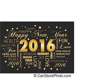 tagcloud, -, saludo, año, nuevo, 2016, tarjeta, feliz