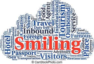 tagcloud, woord, tekst, reizen, conceptueel, toerisme, of, wolk