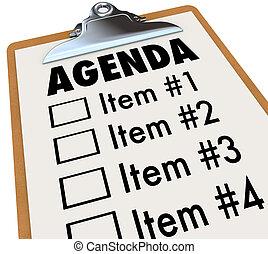 tagesordnung, auf, klemmbrett, plan, für, versammlung, oder,...