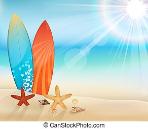 tageszeit, sandstrand, mit, surfbretter