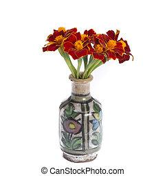 Tagetus in vintage vase