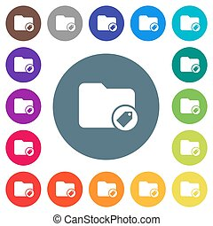 Tagging directory flat white icons on round color backgrounds