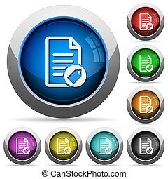 Tagging document round glossy buttons