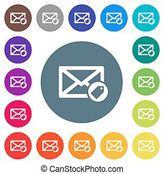 Tagging mail flat white icons on round color backgrounds. 17 background color variations are included.