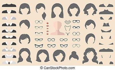 tagli capelli, appartamento, differente, set, creator., vestire, costruttore, su, vettore, donna, femmina, facce, occhiali, ecc., style., icona