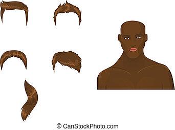 tagli capelli, set, maschio