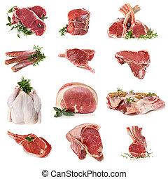 tagli, di, carne cruda