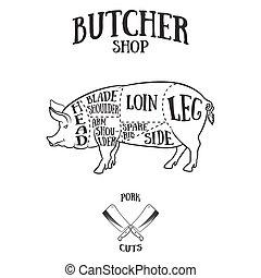 tagli, piano, carne di maiale, macellaio