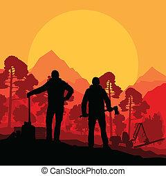 taglialegna, con, asce, in, selvatico, montagna, foresta, paesaggio natura