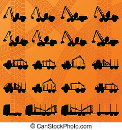 taglialegna, dettagliato, camion, editable, trattori,...