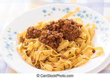 Tagliatelle Bolognese sauce from Italy