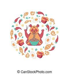 tagliatelle, cibo, cerchio, panda, composition., mangiare, rosso, volare, bastoncini.